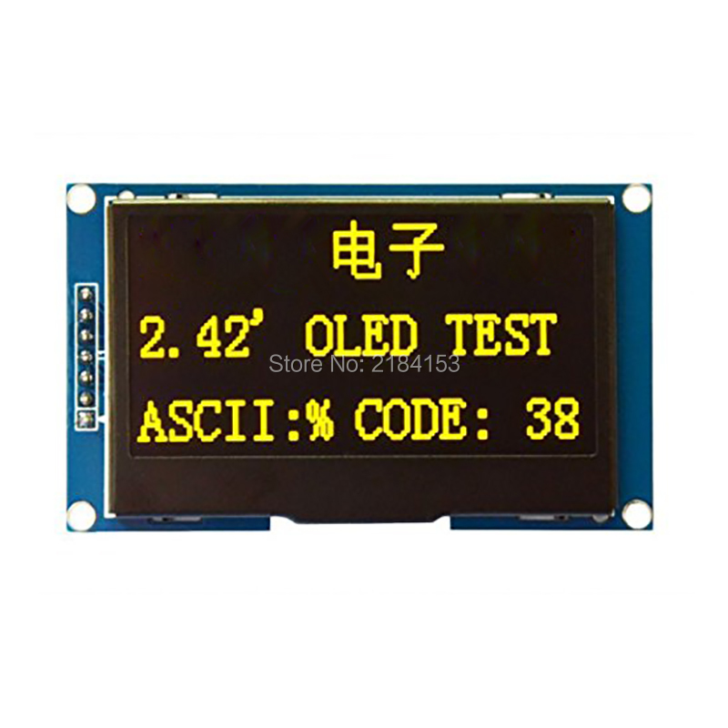 Wholesale 2.42 12864 OLED Display Module IIC I2C SPI Serial FOR Ardui C51 STM32 Yellow 2 42 12864 lcd oled display module spi iic i2c oleds blue screen 3v 5v 2 42 oled ssd1309 compatible for c51 stm32 arduino diy