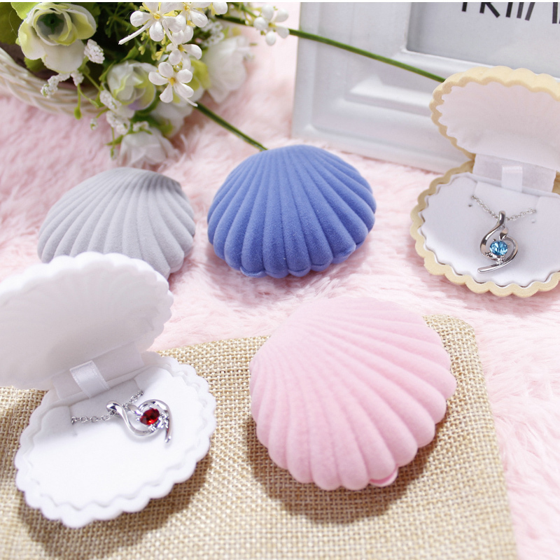 2015 New Arrivel Cute Shell Velvet Jewelry Box Ring Box Earrings