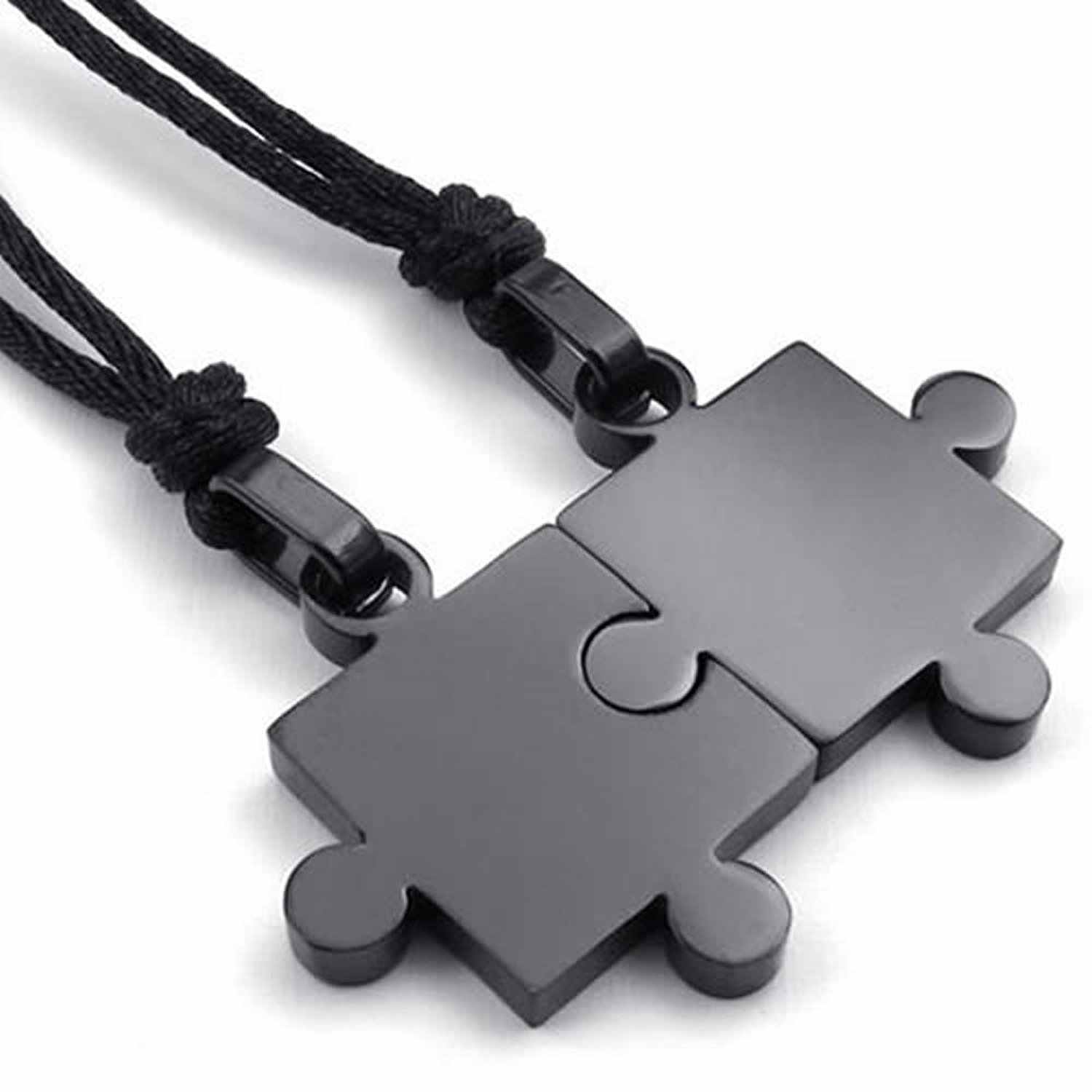 2pcs Mens Womens Couples Stainless Steel Puzzle Pendant Love Necklace Set, Black Silver