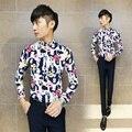 O envio gratuito de 2016 primavera dos homens de moda Coreano slim fit flor impresso manga comprida camisas turnover collar floral casaul shirt