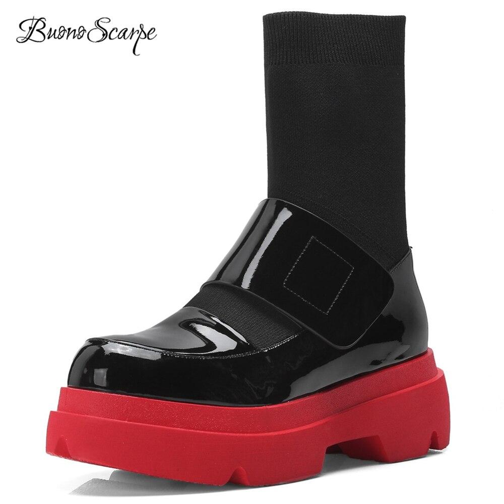 BuonoScarpe 2018 New Fashion Platform Sock Boots Genuine Leather Patchwork Thick Heel Boots Round Toe Elastic
