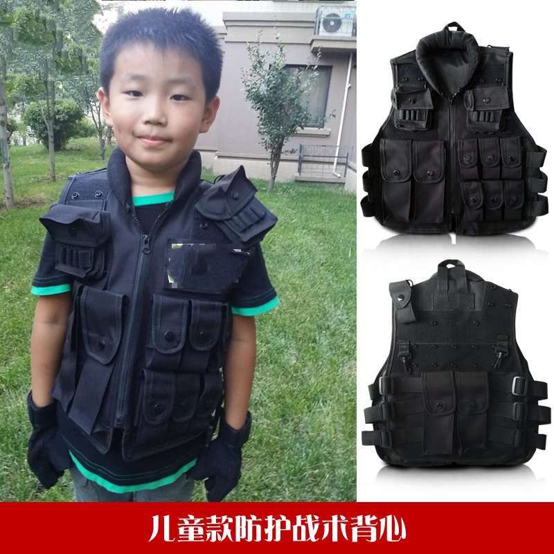 Children 's Tactical Vest Field Vest Outdoor Life CS Game Protective Equipment Small Soldier Cos Special upgraded version of the cs special tactical vest vest american field equipment thickening tactical vest