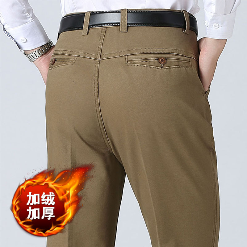 Winter Thick Fleece Cargo Pants Men Joggers Casual Work Pants Mens Business Pants Long Straight Pants For Men Male Trousers
