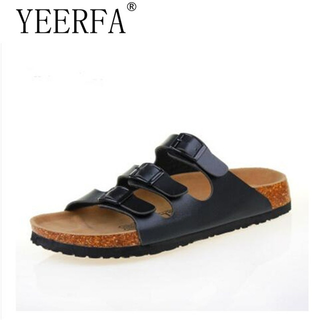89576579551a YEERFA 2019 New Fashion Men Shoes Cork Slippers Men Slippers Sandals Summer  Beach Shoes Lovers Flats Sandals Slides Size 35-43