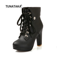 2013 New Hot Sale Fashion Women Ankle Boots High Heels Lace Up Snow Boots Platform Pumps