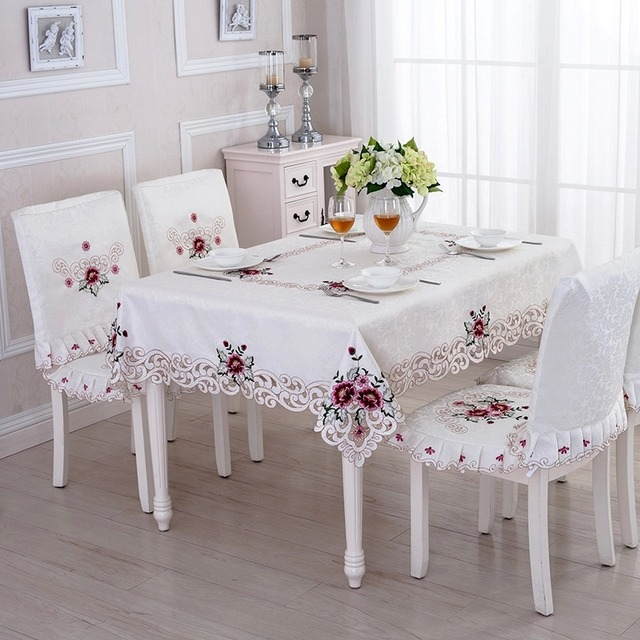 TC011 Purple Floral Lace Edge Cover For Table Europe Style Wedding  Tablecloth Embroidered Home Party Table