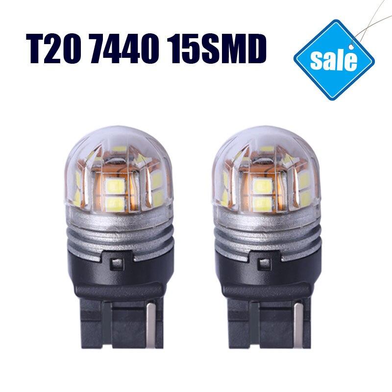 2pcs/lot T20 7440 Automobile Trucks LED Reverse Brake Lights Turn Signal Lamp 6000K White Lights LED Cars Bulbs Wholesale