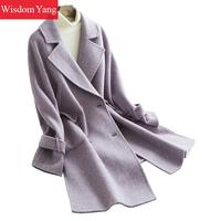 Elegant Womens Purple Sheep Wool Suit Coats Long Woman 2018 Winter Warm Slim Woolen Office Ladies Casual Overcoat Coat Outerwear