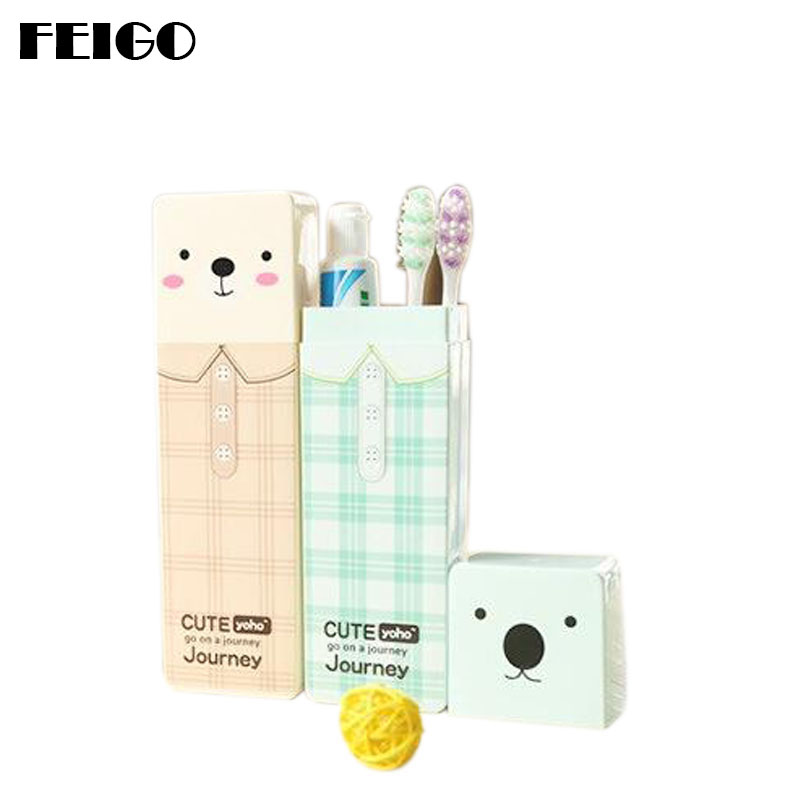 FEIGO 1Pc Cute Cartoon Children Toothbrush Box Bath Product Protect Toothbrush Case Holder Portable Cover Travel Hiking Box F594 image