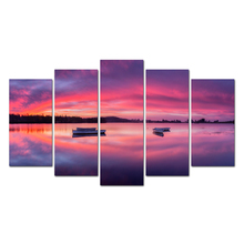 Posters and prints 5 Piece boat lake Painting wall art Canvas art Painting wall pictures free shipping Abooly spray painting