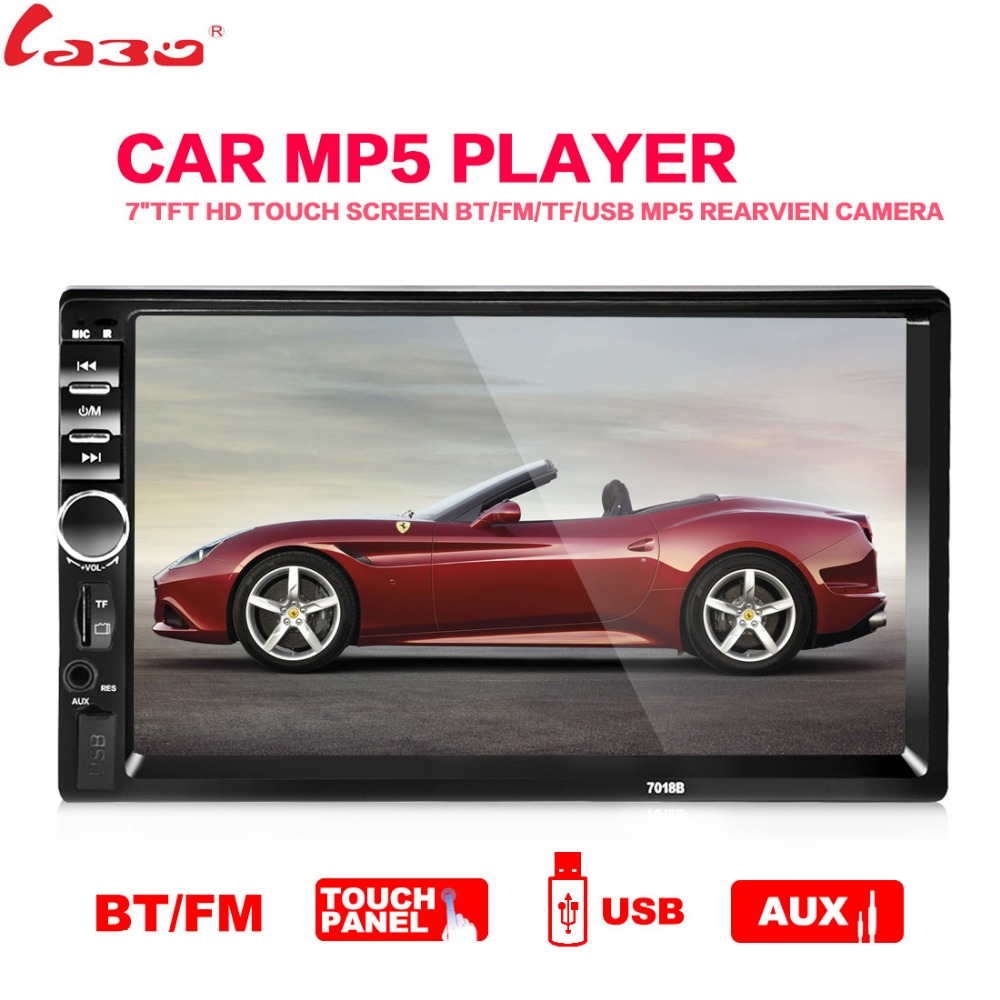 2017 New 7'' inch LCD Touch screen car radio player support 5 Languages Menu BLUETOOTH hands free rear view camera car audio