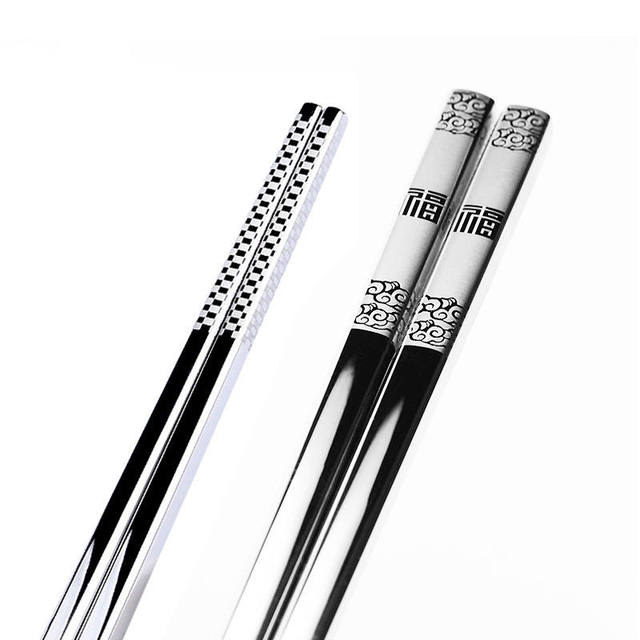 Vacclo 1pair Stainless Steel Anti Skid Dragon Chopsticks Sushi Metal Iron Portable Chinese Healthy Food stick Tableware 5