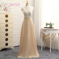 New Champagne Prom Dresses A line V neck Floor Length Chiffon Lace Beaded Long Prom Gown Evening Dresses Evening Gown