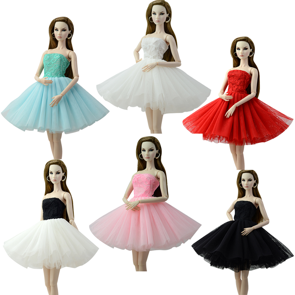NK One Pcs Newest Doll Dress Short Ballet Dresses For Barbie Doll Clothes Fashion Clothes For Barbie Dolls Outfits 1/6 Doll JJ