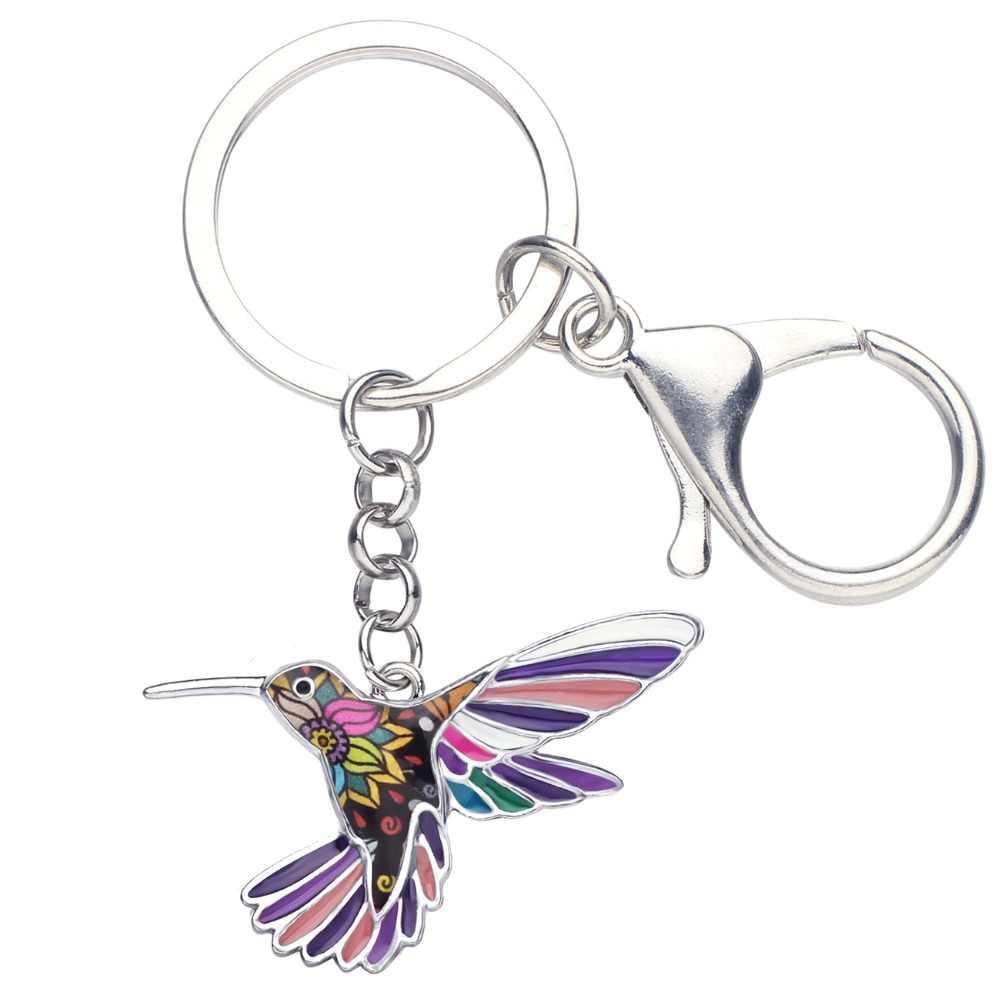 Bonsny заявление эмалированный сплав Цветочный птица Колибри брелок для ключей кольцо животных Ювелирные изделия для женщин девочек сумка автомобиль талисманы подарок