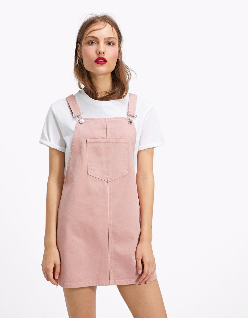 JoinYouth Womens Fashion White Pink Black Pocket Decoration Denim Adjustable Suspender Skirt Ladys Belt Jumpsuit Braces Skirt