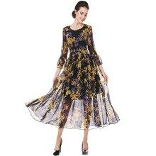 Femmes Élégant Imprimer Mousseline de Soie Robe Robes Vintage Manches Trois-Quarts O-col Mince A-ligne du Parti Moulante Robes Robe Femme