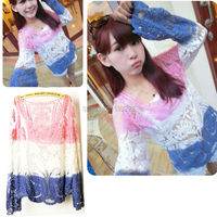 Sexy Women Lady Semi Sheer Lace Floral Embridery Crochet Long Sleeve Gradient T Tops Blouses Shirt
