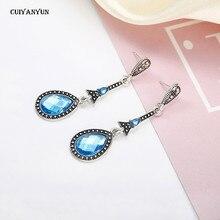 long crystal women dangle earrings vintage pendants fashion jewelry Bohemia gold wedding party