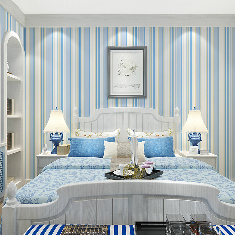ФОТО beibehang Mediterranean blue vertical striped wallpaper living room bedroom TV background wall paper contact-paper papel contact