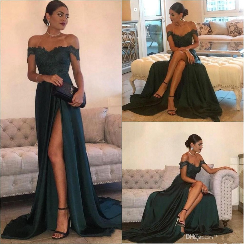 Dark Green 2019 Prom Dresses Mermaid Off The Shoulder Slit Sexy Party Maxys Long Prom Gown Evening Dresses Robe De Soiree