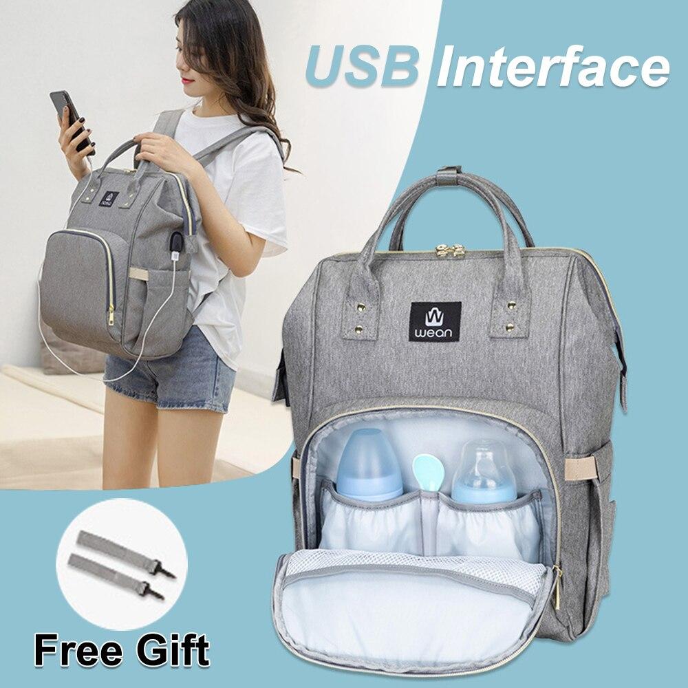Diaper Bag Backpack USB Baby Nappy Bag Waterproof Maternity Travel Nursing Bag Baby Care Stroller Handbag Patchwork Color