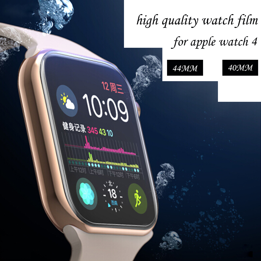 все цены на Full Coverage Protective Film For iwatch Apple Watch Series 4 44mm 40mm 9D Anti-Shock TPU (Not Glass) Screen Protector Cover онлайн