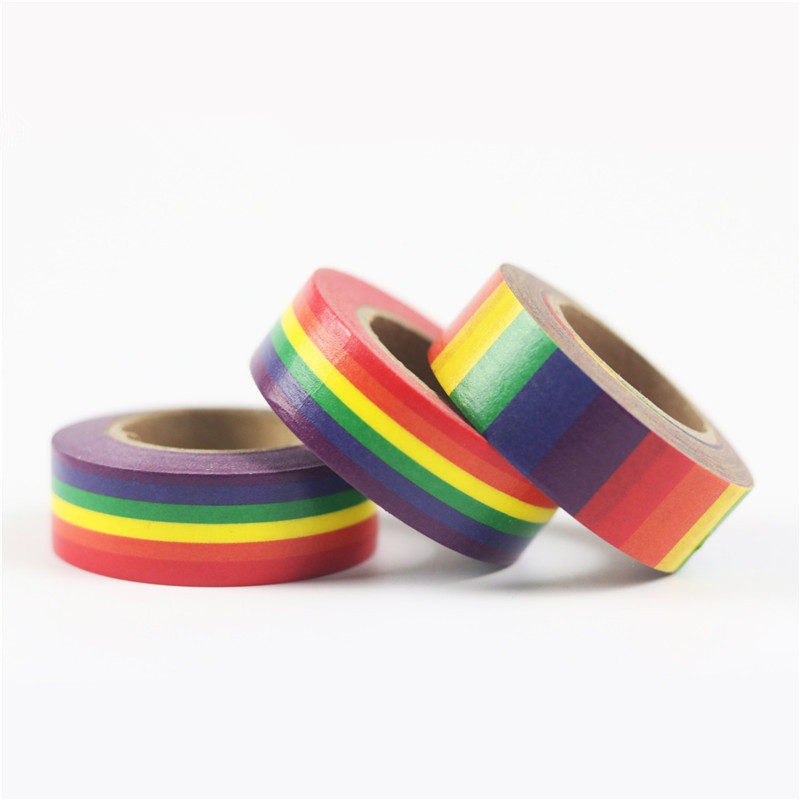 New washi tape school supplies stationery tape office stationery 15mm rainbow tape