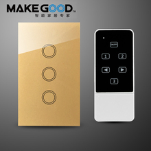 Makegood US Fashion Wi-fi 3Gang Wall Mild Swap Wifi Distant Management Contact Display screen Swap for Good Dwelling Automation by rm professional