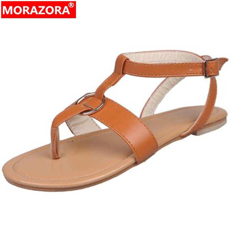9a9fef2e0 MORAZORA 2019 nueva llegada de gran tamaño 48 mujeres sandalias de colores playa  zapatos de hebilla