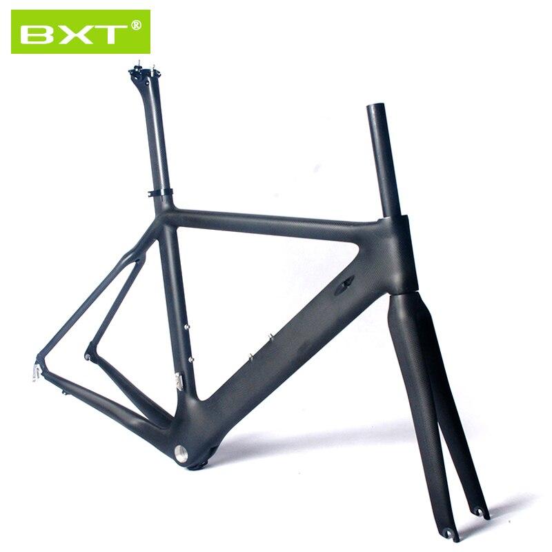 BXT 2016 T800 Full carbon frame barrel axle  road bike frame fork size 490mm 700c Wheels 3K  bicycle No standard swag off road bottle jack axle cradle