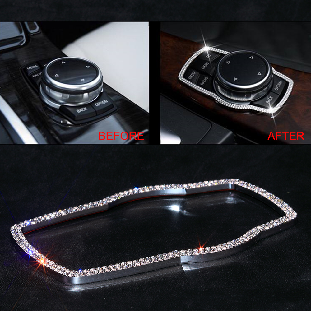 Diamond Decoration Multimedia Knob Buttons Frame Cover <font><b>Sticker</b></font> For <font><b>BMW</b></font> 3 4 5 7 Series X1 X3 X4 X5 X6 E81 E87 <font><b>F20</b></font> F25 F07 F30 F31 image