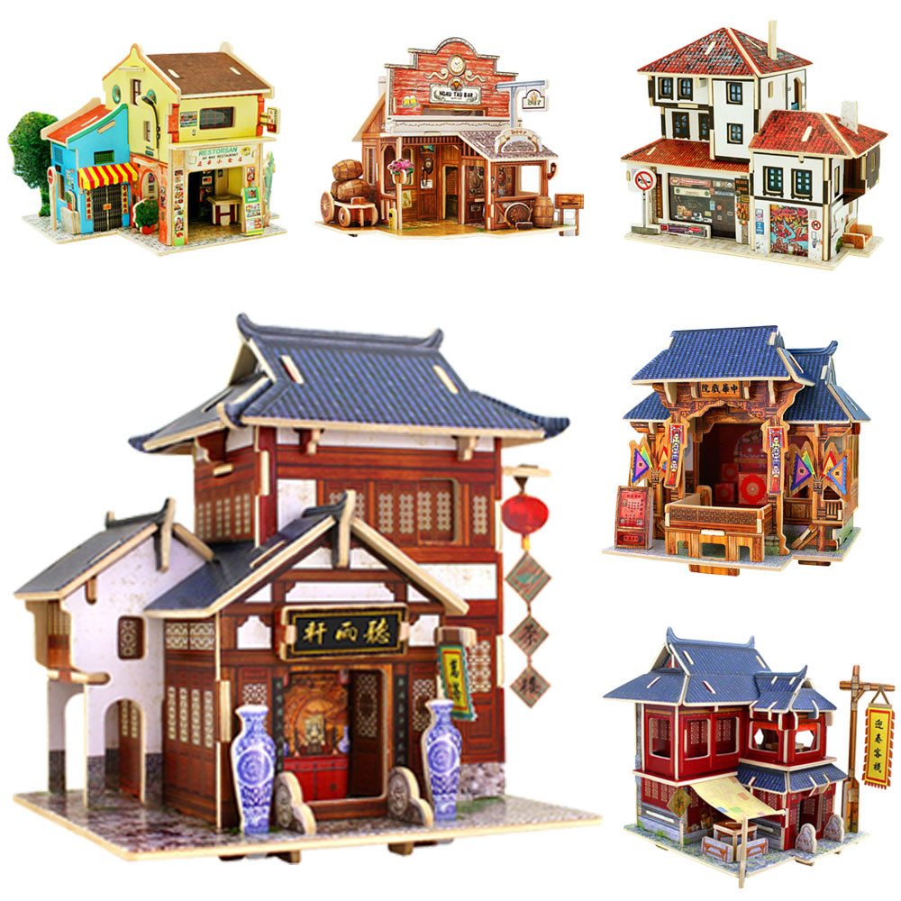 Hot sale diy wooden house christmas home decor diy for Home decorations on sale