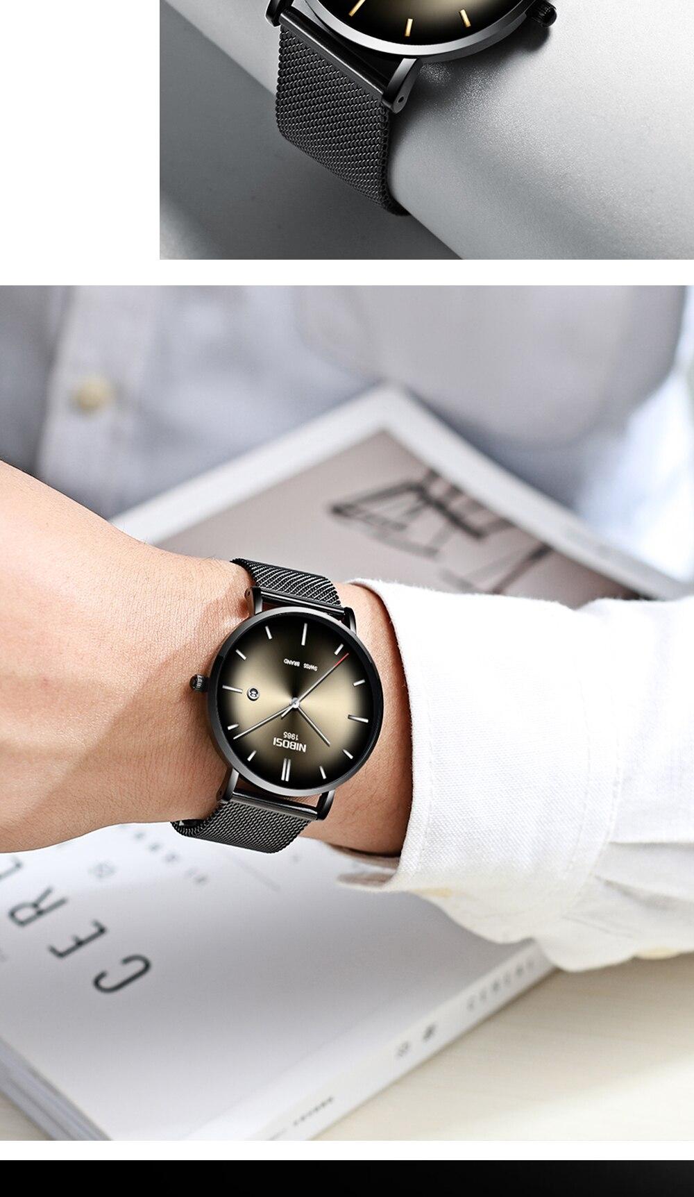 NIBOSI Watch Men Simple Fashion Swiss Brand Quartz Watch Luxury Creative Waterproof Date Casual Men Watches Relogio Masculino