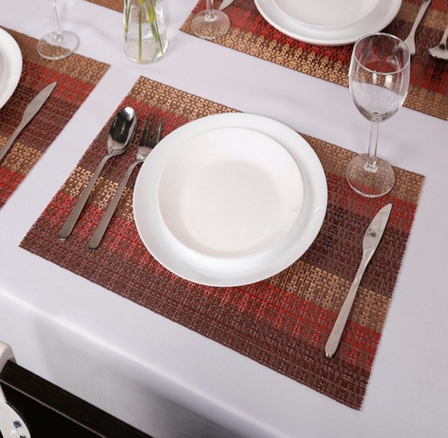 Pcs SiCoHome Crossweave Woven Vinyl Placemats For Dining Table - Conference table placemats