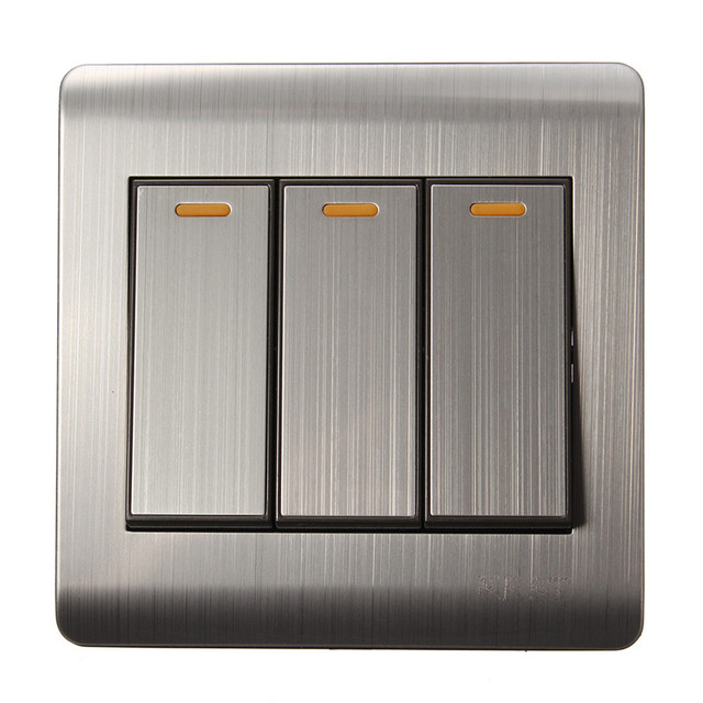 86 Concealed Luxury Wall Switch Panel, Light Switch 3 Gang 2 Ways ...