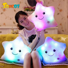 SONCOT Hot Sale Colorful LED luminous soft pillow Kawaii plush luminous pillow back pad thickening doll children's toy gift(China)