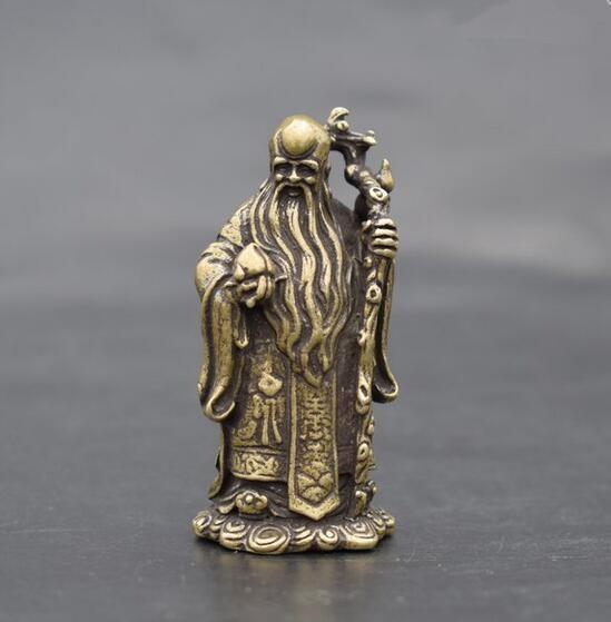 Chinese pure brass longevity Buddha Small statue