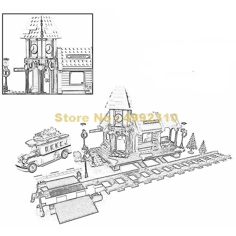 1010pcs creative christmas winter village train station building block  10259 Bricks Toy  |Building Blocks