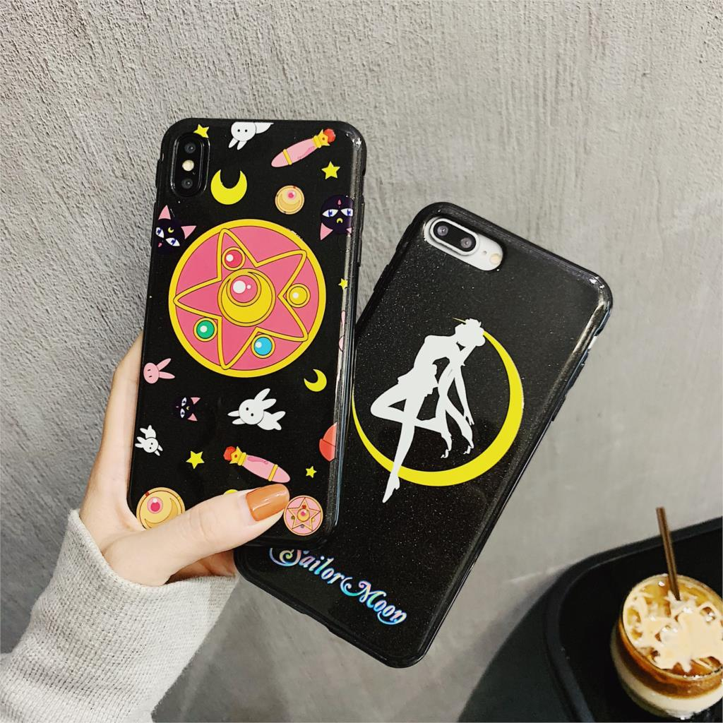 3D Relief Glitter Funda For Iphone X Case Sailor Moon Magic Wand Phone Case For Iphone X XR XS Max 6 6S 7 8 Plus Cover Soft TPU