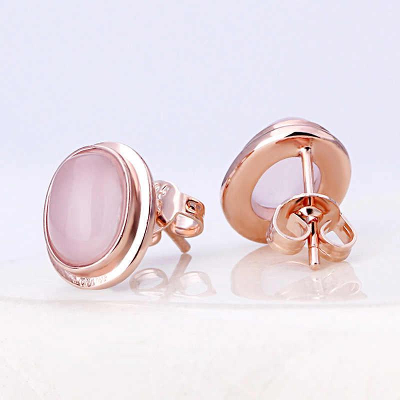 Rose Gold Farbe Stud Ohrringe Mode Funken Strass Geometrie Opal Bolzen Ohrringe Für Frauen Mode Hochzeit Schmuck B97-5