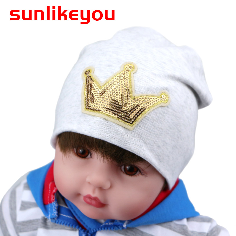 Sunlikeyou New product Unisex Newborn Winter Cap For Boys Girls Kids Hats Crown Sequin Cotton Soft Baby Beanie Hat For Girls