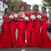 2019 Red African Bridesmaid Dresses Spaghetti Strap Strapless Floor Length High Quality Satin Bridesmaid Gowns Robe De Soiree
