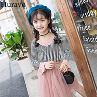 Hurave sweet girl clothes 2017 Autumn girl children new striped V-neck long sleeve Shirts+mesh skirt set two sets kids clothes