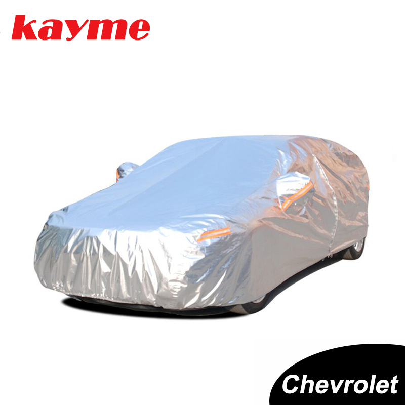 Kayme Aluminium Waterproof Car Covers Super Sun Protection Dust Rain Car Cover Full Universal Auto Suv Protective For Chevrolet