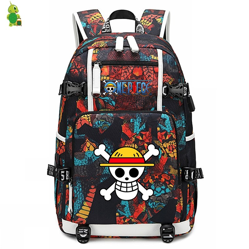 Anime One Piece Backpack Laptop Backpack School Bags For Teenage Girl Boy Luffy Zoro Large Travel Shoulder Bags Casual Rucksack