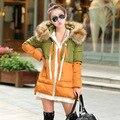 2016 versão Coreana do casaco de algodão das mulheres de inverno solto grandes estaleiros casaco mais grosso meados de estilo longo cor feitiço das mulheres