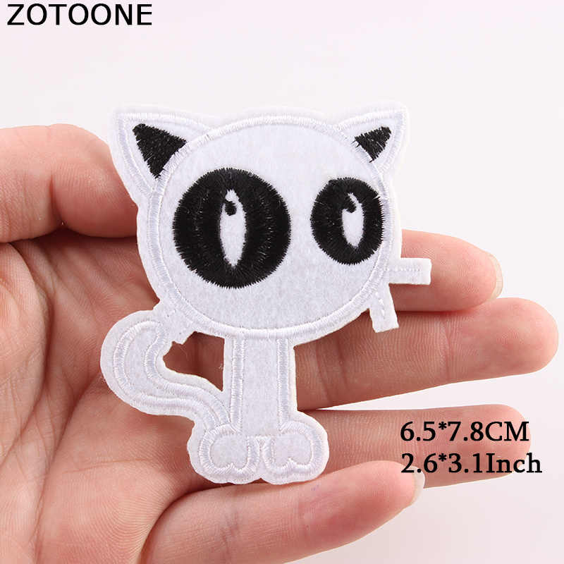 ZOTOONE Embroidery Animal Fruit Food Letter Patch Iron On Eye Cat Sequin Patches Bags Applique Fabric For Clothes DIY Badges D