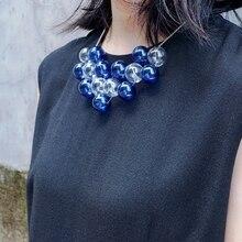 Gargantilha com design original de fivelas azuis, colar para mulheres, 2020 jantar, festa, vidro chique, pingente, colar curto, top qaulity