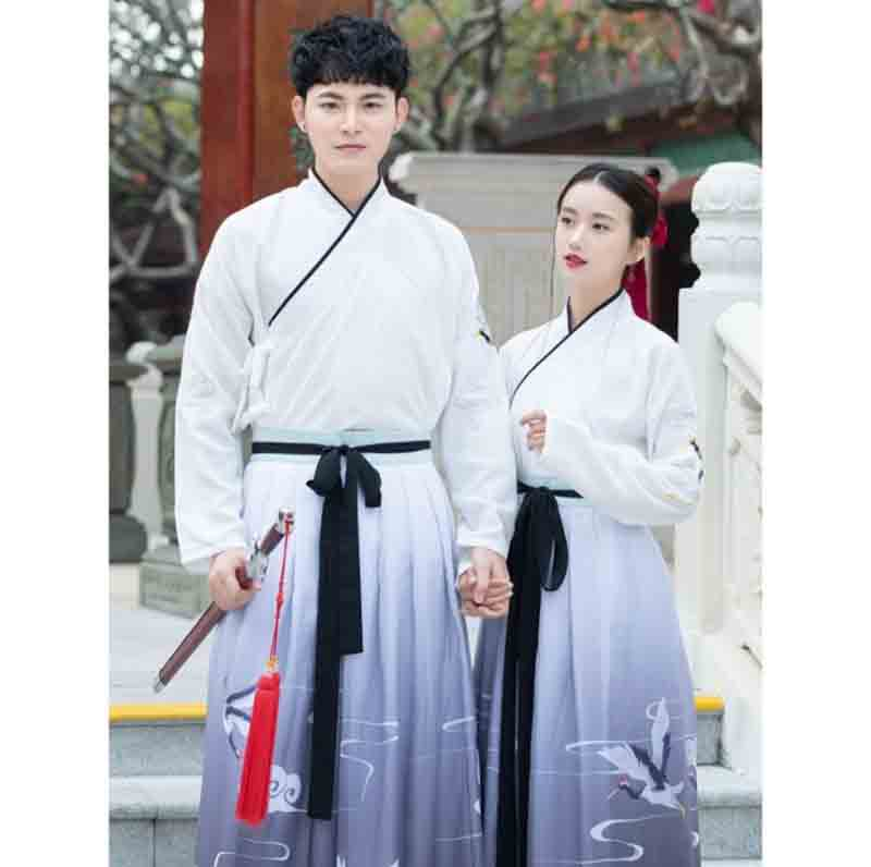 Couples Gradient Blue Hanfu Ancient Chinese Vintage Outfit Fantasia Adult Halloween Costume For Men And Women Plus Size 2XL